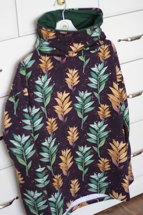 Bluza z kominem złote i butelkowe liście