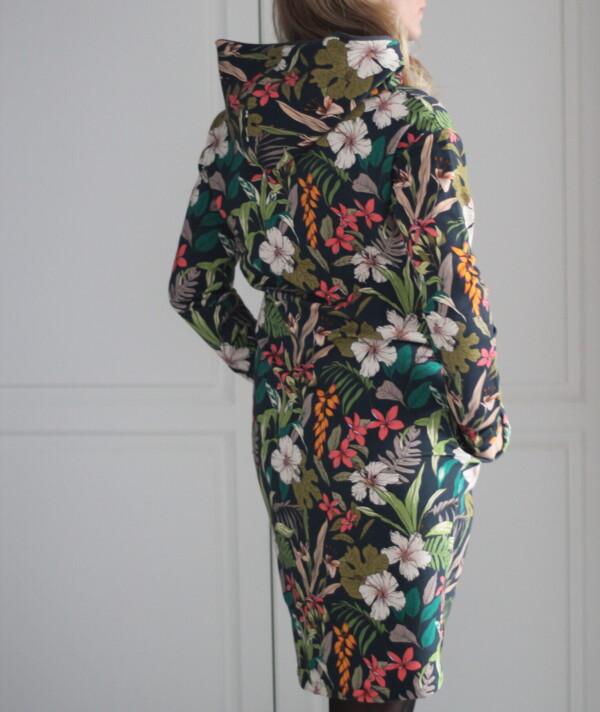 Sukienka z kapturem kwiaty na graficie