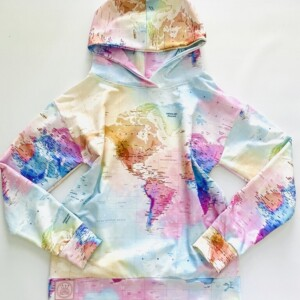 Bluza z kapturem pastelowe mapy