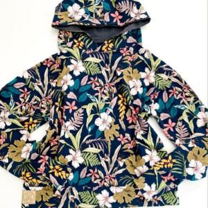 Bluza z kapturem kwiaty na graficie